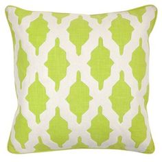 Check out this item at One Kings Lane! Louise 22x22 Cotton Pillow, Green