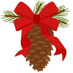Christmas Pinecone With Ribbon scrapbook cut file cute clipart files for silhouette cricut pazzles free svgs free svg cuts cute cut files