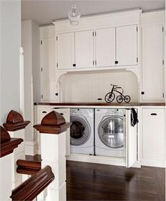 This is a great alternative for homes that currently have a laundry closet, whether its in the upstairs hallway or in the kitchen. It's also an idea for anyone who has their laundry room in the basement and has room somewhere else in the house for this. Interior Design Photos, Room Design, House, Laundry Mud Room, Upstairs Hallway, Hidden Laundry, House Interior, Laundry, Laundry Room
