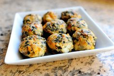 Spicy Spinach-Stuffed Mushrooms by the Pioneer Woman. Looks like they can also be made without the kick. Might try this tomorrow.