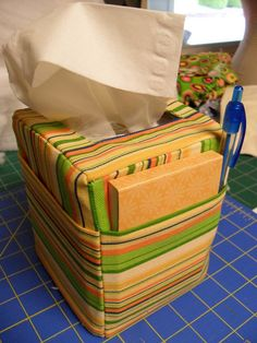 Lots of pictures, easy directions for making a cute tissue box cover.  What a great gift for someone in a nursing home or hospital.  Or even to sit on my makeup table.