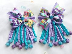 Diy Crafts - My Little Pony Bows, My Little Pony, Bows with spirals, gift for girls, hair clips. 1 set pcs) by AurellaShop Ribbon Hair Bows, Diy Hair Bows, Diy Bow, Diy Ribbon, Ribbon Crafts, Diy Crafts, Baby Girl Hair Accessories, Hair Bow Tutorial, Baby Hair Clips