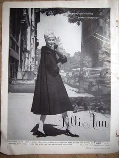 1960 Vintage Lilli Ann Charmed Circle Coat in Black Womens Fashion Ad