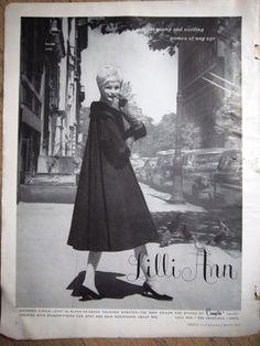 1960 Vintage Lilli Ann Charmed Circle Coat in Black Womens Fashion Ad