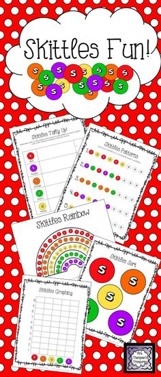 Skittles Fun Activity Pack! Students love using candy to practice math skills! This pack gives you some great activities and ideas using Skittles. These are great to use during the spring or around St. Patrick's Day since they are rainbow colors!    Includes:  Estimation Class Activity  Sorting Mat  Tally Chart  Graphing & Questions  Pattern Practice  Art Templates and Ideas   **All activities come in color and b&w versions so you can use in a center, or print a copy for each student!