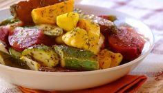 Freshly Roasted and Seasoned Vegetables — KidneyBuzz Squash Fries, Renal Diet, Yellow Summer Squash, Cooking Recipes, Healthy Recipes, Roasted Vegetables, Potato Salad, Buffet, Spices