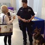 MTA Officer and his canine partner at the Angel on a Leash Working Dog Expo at the Morgan Stanley Children's Hospital