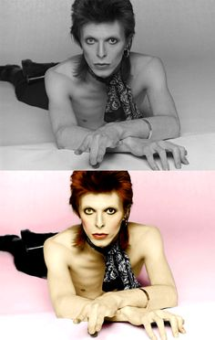 top: original black and white picture; bottom: colour edit. David Bowie is such a fox.