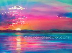 Watercolour painting beautiful new to mariawatercolor on etsy custom watercolor sunset Watercolor Sunset, Watercolor Landscape, Watercolour Painting, Painting & Drawing, Landscape Paintings, Tattoo Watercolor, Sunset Paintings, Abstract Watercolor, Body Painting