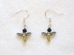 Bumble-bee-drop-dangle-Earrings-yellow-and-black-crystal