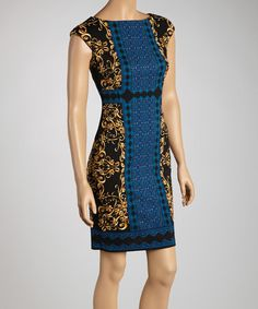 Take a look at this Black & Blue Scroll Foulard Dress by Maggy London on #zulily today!