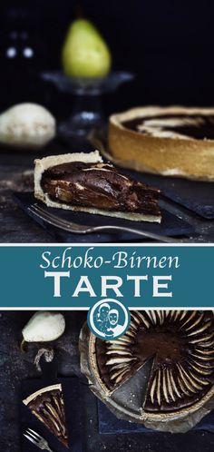 Rezept für eine köstliche Tarte mit einer Kombination aus Schokolade und Birnen.