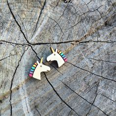 Perfect earrings for lovers of all things cute and pretty. Leather Accessories, Leather Jewelry, Rustic Jewelry, All Things Cute, Ethical Fashion, Unicorn, Lovers, Stud Earrings, Pretty
