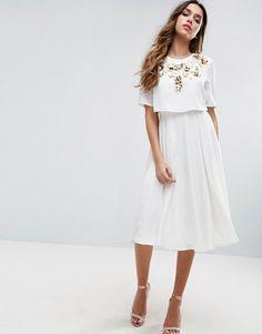 ASOS White Embellished Crop Top Midi Skater Dress