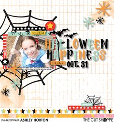 Awesome Halloween scrapbook layout using a spider web as the photo mount