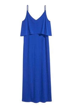 Jersey maxi dress: V-neck maxi dress in soft jersey with narrow shoulder straps, layered with a short top.
