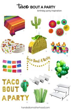 """Check out the inspiration below to throw your very own """"Taco Bout a Party""""! 2nd Birthday Party Themes, Second Birthday Ideas, Fiesta Theme Party, Taco Party, Boy Birthday Parties, Birthday Fun, Fiesta Gender Reveal Party, Mexican Birthday, Mexican Party"""