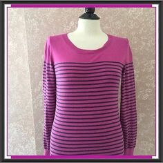 Pink & Black Striped Sweater Small S Long Sleeve
