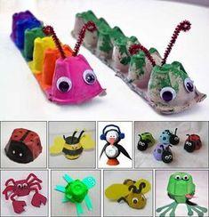 DIY kids crafts egg carton bugs to make Daycare Crafts, Toddler Crafts, Preschool Crafts, Fun Crafts, Children Crafts, Easy Kids Crafts, Arts And Crafts For Kids Toddlers, Animal Crafts For Kids, Stick Crafts