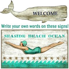 Artsy Gift Idea. Whale and Diver Sign. Featured on CC: http://www.completely-coastal.com/2014/11/personalized-nautical-gifts.html