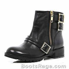 Black multi buckle biker boots - Women Boots And Booties