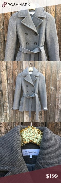{Calvin Klein} Wool Pea Coat 2P Like new! Pristine condition. Classic, beautiful wool blend peacoat. Grey knit with herringbone vibes. Perfect for Fall! Luxury meets chic! Measurements to be posted ASAP! Fabric content + care shown in photos. Offers warmly welcomed! Calvin Klein Jackets & Coats Pea Coats