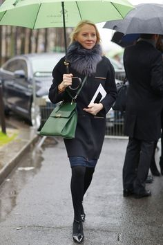 PFW Street Style Day Three: This is how you stay sophisticated, even when it rains.  Source: Tim Regas