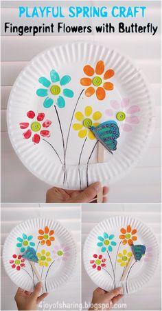 Fingerprint Flowers With Butterfly - Playful Spring Craft For Kids #kidscraft #springcrafts #easycrafts #funcrafts Kids Crafts, Preschool Crafts, Easter Crafts, Projects For Kids, Craft Projects, Craft Ideas, Craft Art, Preschool Ideas, 31 Ideas