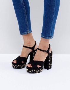 5c04db05f45 Black Stud Detail Heeled Sandal Womens Boots On Sale