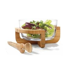 Glass Bowl with Bamboo Stand $12