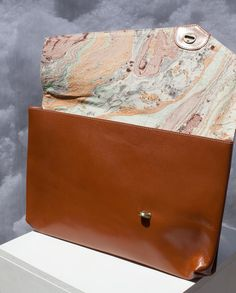 The Monteas in Marble Brown - leather clutch or computer case in brown with Marble Print