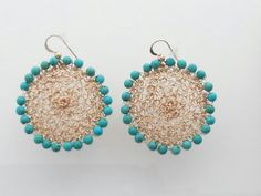 Miriam Jewels Store - Gold-filled Turquoise Earrings, $159.00 (http://www.miriamjewels.com/gold-filled-turquoise-earrings/) #crochet #jewelry