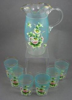 19th C. English Glass Pitcher and Tumblers Set