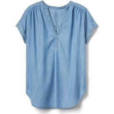 Gap Women TENCEL™ Indigo Popover Top ($40) ❤ liked on Polyvore featuring tops, medium wash, regular, shirred top, gap tops, blue top, rouched top and tencel tops