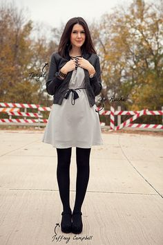 gray dress, black tights - my fav.  she's so cute!