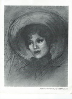 Vintage photo of an original charcoal drawing of Jeanette MacDonald by Robert Uyvari - ESCANO COLLECTION