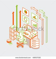 Isometric linear flat man working with server computer, button remote controller and arrows vector illustration. Marketing business technology 3d isometry concept.