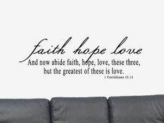 Faith Hope Love Bible Verse Quote 1 Corinthians by DecalsWallArt