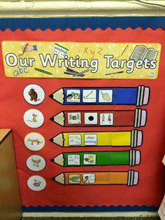 Lovely Writing Target display using Twinkl resources. Great idea for the new school year! Year 2 Classroom, Classroom Display Boards, Ks1 Classroom, Early Years Classroom, Classroom Organisation, Primary Classroom, Classroom Displays, Reception Classroom Ideas, School Display Boards