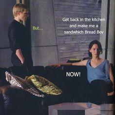 Katniss and Peeta's relationship.