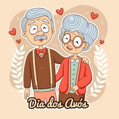 Design Plano, Grandma And Grandpa, Grandparents Day, Illustration, Fairy, Stickers, Vector Freepik, Cake Toppers, Fictional Characters