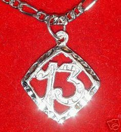 New LUCKY Number 13 Pendant Charm Celtic Gothic Jewelry Sterling Silver 925 Jewelry