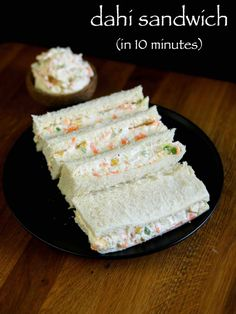 dahi sandwich recipe, hung curd sandwich, cold sandwiches recipes with step by step photo/video. easy healthy tasty kids tiffin sandwich or breakfast recipe Veg Recipes, Indian Food Recipes, Snack Recipes, Cooking Recipes, Cheap Recipes, Cheap Meals, Bread Sandwich Recipe Indian, Cooking Tips, Gourmet