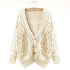 Oversize Cable Knit Cardigan ($30) ❤ liked on Polyvore featuring tops, cardigans, sweaters, outerwear, cable knit cardigan, oversized tops, brown cardi, brown cardigan and brown top