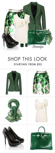 """""""Goin' Green"""" by moomoofan1972 ❤ liked on Polyvore featuring Annarita N., Prabal Gurung, Toast, Lanvin, Hermès and Fantasy Jewelry Box"""