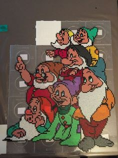 Withesnow and the seven dwarf fusebead hama perle by on DeviantArt Perler Bead Designs, Hama Beads Design, Diy Perler Beads, Perler Bead Art, Disney Hama Beads Pattern, Fuse Bead Patterns, Perler Patterns, Beading Patterns, Cross Stitch Patterns