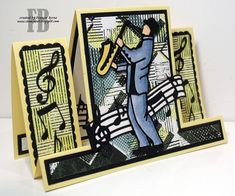Real Jazzy Birthday created by Frances Byrne using Centre Stepper Card - Tattered Lace; Masculine Birthday Cards, Birthday Cards For Men, Masculine Cards, Male Birthday, 3d Cards, Folded Cards, Center Step Cards, Musical Cards, Tonic Cards