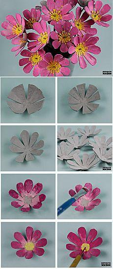 Цветы из яичных лотков   Умелые ручки