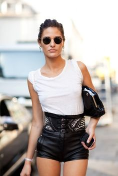 grunge classic look with white tee and leather stud shorts.. love it