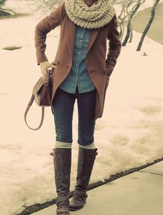 fall outfit and chunky scarfs.